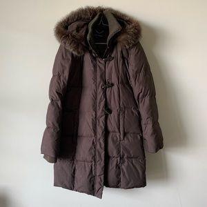 Ellen Tracy brown fox fur hooded down puffer coat